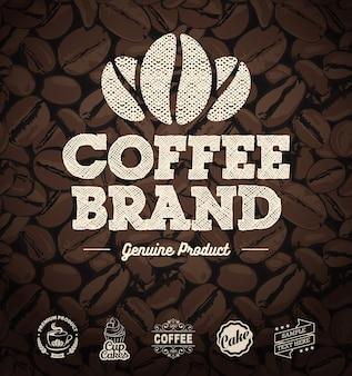 Rótulos de café e grãos de café