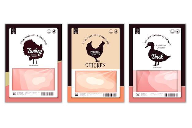 Rótulos de carnificina de vetor com silhuetas de animais de fazenda. ícones de vaca, frango, porco, carneiro, peru e pato e texturas de carne para mantimentos, lojas de carne, embalagens e publicidade