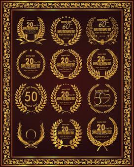 Rótulos de celebração de aniversário de coroa de louro ouro