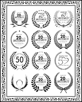 Rótulos de celebração de aniversário de coroa de louro preto