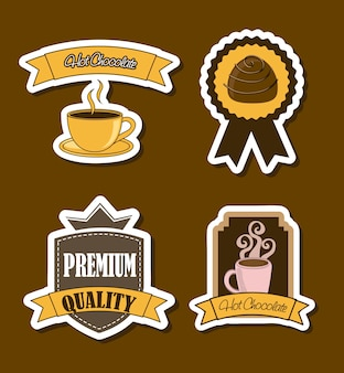 Rótulos de chocolate sobre ilustração vetorial de fundo marrom Vetor Premium