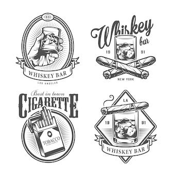 Rótulos de clube cavalheiro monocromático vintage
