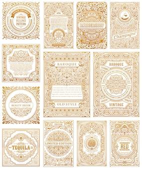 Rótulos de design de molduras caligráficas de cartões vintage dourados