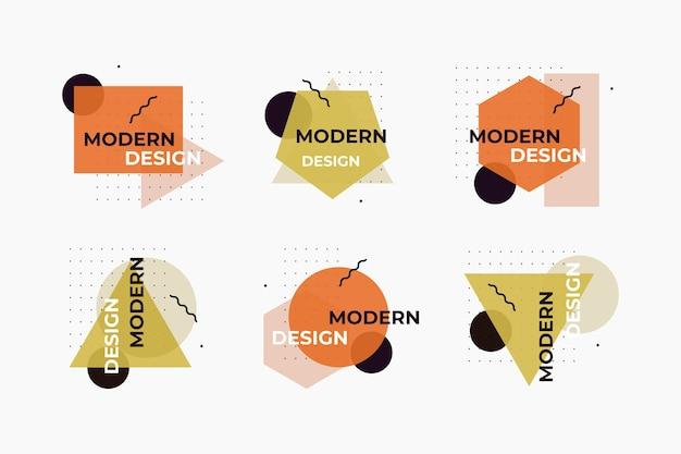 Rótulos de design gráfico de estilo geométrico