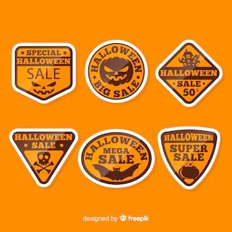 Rótulos de design laranja plana de halloween
