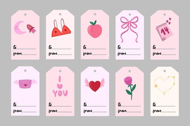 Rótulos de dia dos namorados com coisas românticas. todas as tags são isoladas. ilustração em vetor mão desenhada.