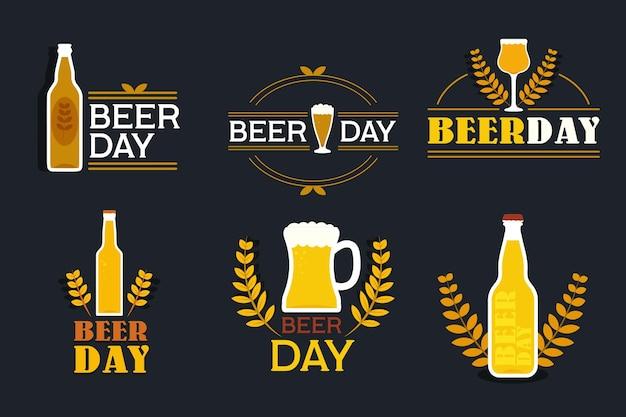 Rótulos de dia internacional da cerveja de design plano