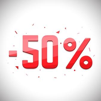 Rótulos de economia de venda. etiqueta de venda de preço 3d. desconto de cinquenta por cento.