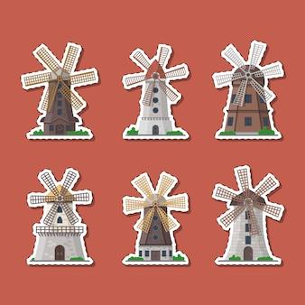 Rótulos de edifícios antigos moinho de vento tradicionais