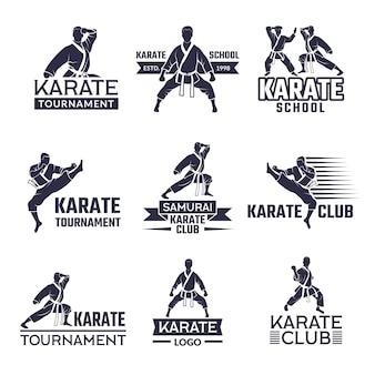 Rótulos de esporte definido para o clube de luta, karatê e artes marciais