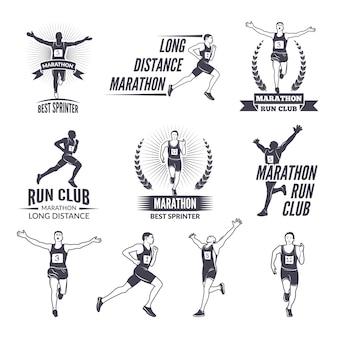 Rótulos de esporte no tema de maratona para equipes de esporte.