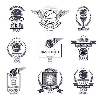 Rótulos de esporte para o clube de basquete.
