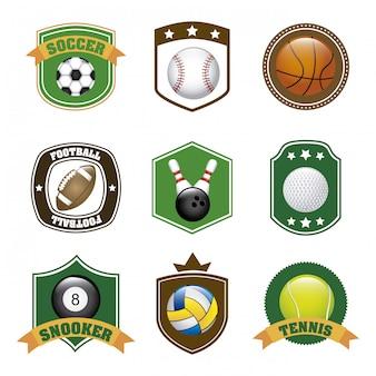 Rótulos de esportes sobre ilustração vetorial de fundo branco