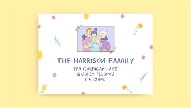Rótulos de família de endereços desenhados à mão