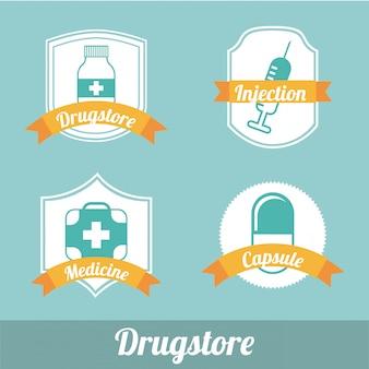 Rótulos de farmácia sobre ilustração vetorial de fundo azul