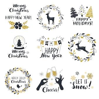 Rótulos de feliz natal e feliz ano novo, perfeitos para banners, cartões e etiquetas de presente