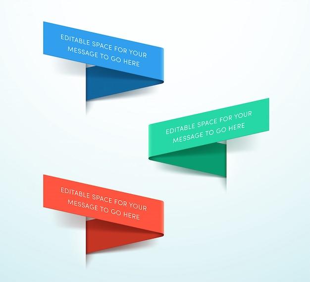 Rótulos de fita 3d conjunto colorido de três vetores