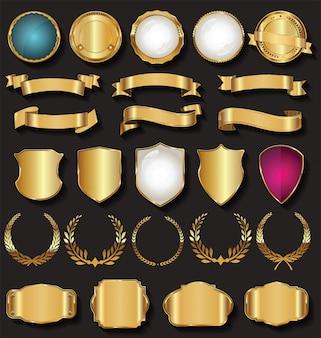 Rótulos de fitas de ouro retro e coleção de vetores de escudos
