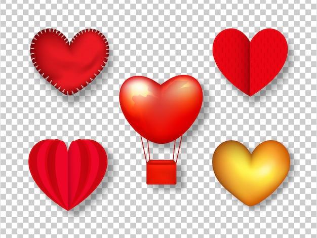 Rótulos de forma de coração.