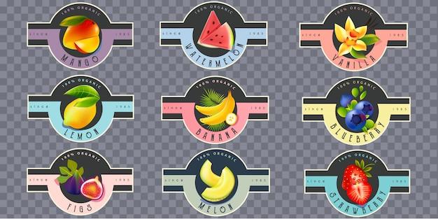 Rótulos de frutas para suco, iogurte, geléia
