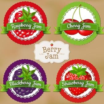 Rótulos de frutas vermelhas com ilustração de malha gradiente