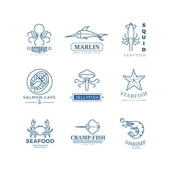 Rótulos de frutos do mar, logotipos de vetor de linha fina, emblemas