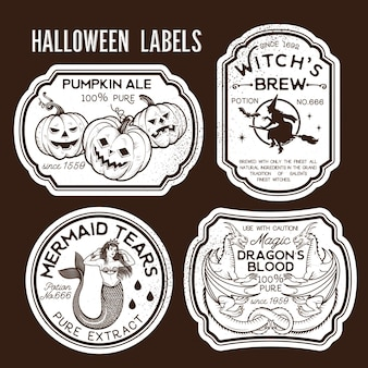 Rótulos de garrafa de halloween rótulos de poção. ilustração vetorial.