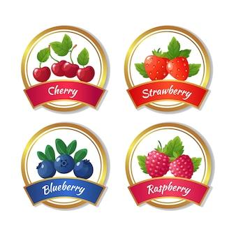 Rótulos de geléia e marmelada de baga. modelo de vetor de frutas frescas no verão