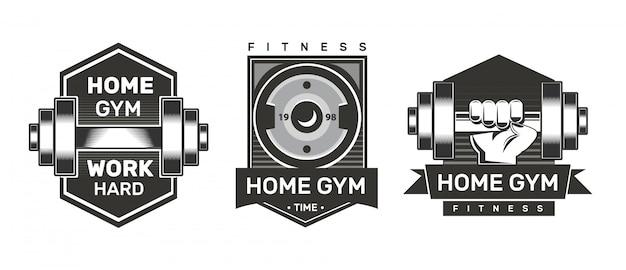 Rótulos de ginástica em casa. logotipo de aptidão.