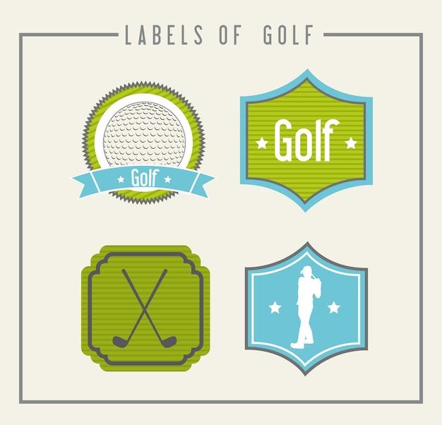 Rótulos de golfe sobre ilustração vetorial de fundo bege