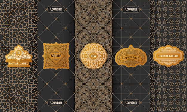 Rótulos de grife dourados com logotipo em uma moldura e embalagem de luxo