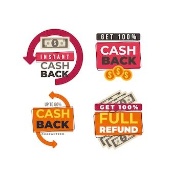 Rótulos de ícones de economia e reembolso de dinheiro