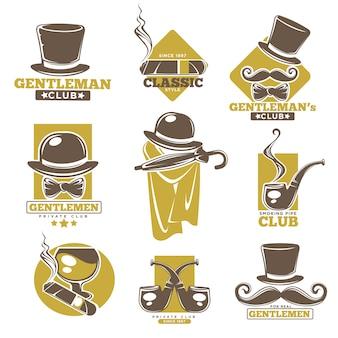 Rótulos de logotipo de clube de cavalheiros definido no pôster colorido branco