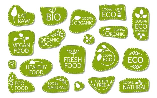 Rótulos de logotipo verde eco com folhas. símbolo do emblema para produto natural orgânico, bio.