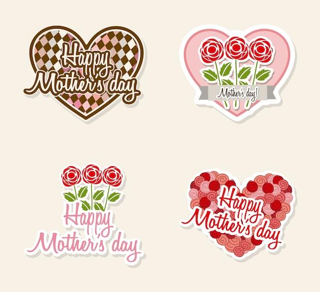 Rótulos de mães felizes com flores e corações ilustração vetorial
