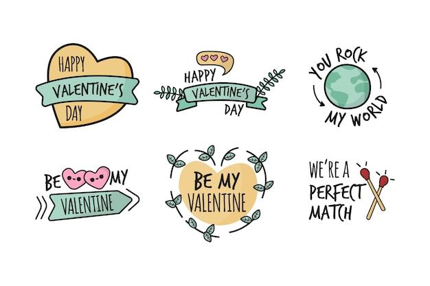Rótulos de mão desenhada dia dos namorados