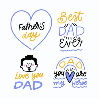 Rótulos de mão desenhada dia dos pais