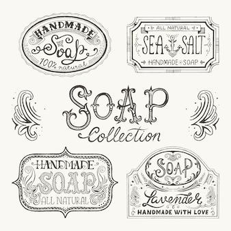 Rótulos de mão desenhada e padrões para barras de sabonete artesanal.