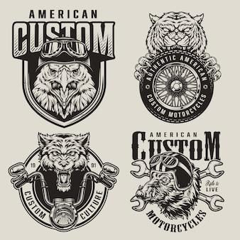 Rótulos de mascotes de motociclistas de animais vintage