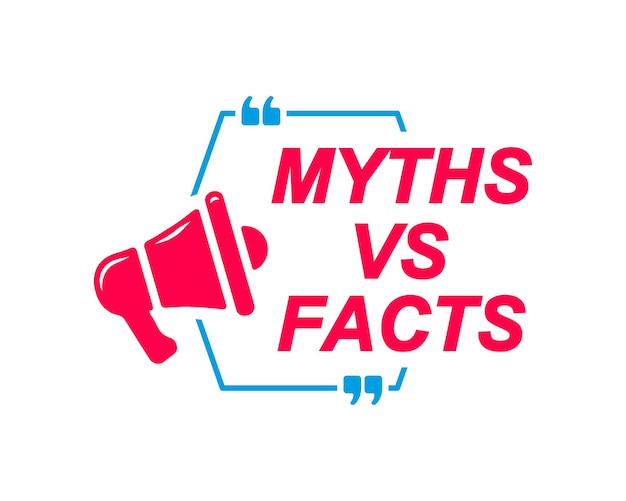Rótulos de mitos vs fatos balões de fala com ícone de megafone banner para perguntas frequentes de sites de mídia social