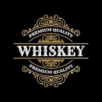 Rótulos de moldura real de luxo vintage com logotipo para cerveja, whisky, álcool, bebidas, garrafa, embalagem, desig