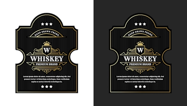 Rótulos de moldura real de luxo vintage com logotipo para embalagens de garrafas de bebidas alcoólicas de uísque de cerveja