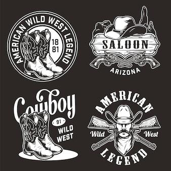 Rótulos de oeste selvagem vintage monocromático