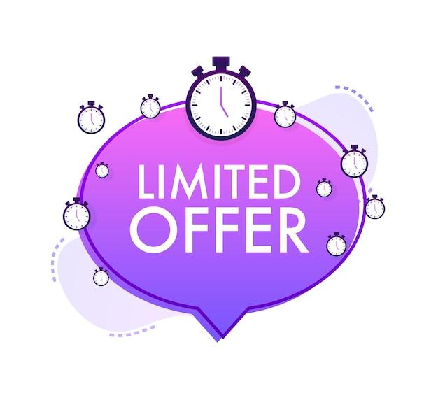 Rótulos de oferta limitada. logotipo da contagem regressiva do despertador. emblema de oferta por tempo limitado. ilustração vetorial.