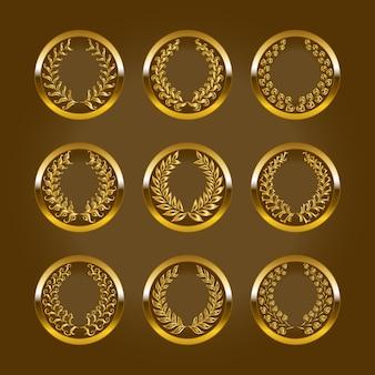 Rótulos de ouro de luxo com coroa de louros