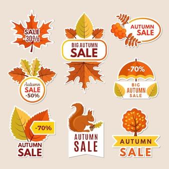 Rótulos de outono em vendas.