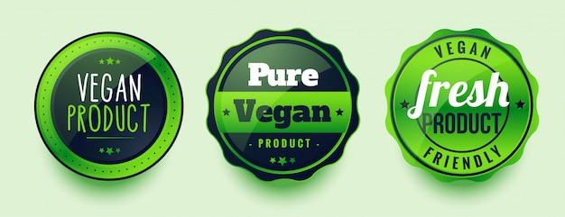 Rótulos de produtos puros veganos com três itens