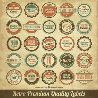 Rótulos de qualidade circulares retro
