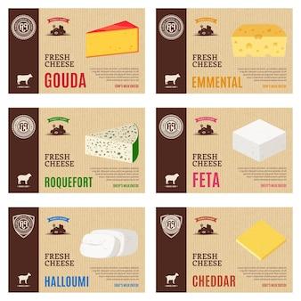 Rótulos de queijo e elementos de design de embalagens