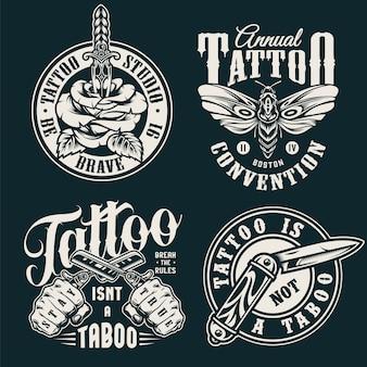 Rótulos de salão de tatuagem monocromática vintage